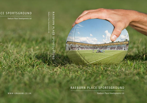 Design & print of the Raeburn Place Sportsground bid presentation for GRAHAM Construction.
