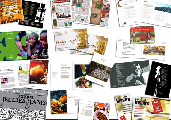 Book design, CD Packaging, newsprint, newsletters, limited edition prints, schoolbooks, restuarant menus, advertising on buses, advertising on hoardings, large format print meshes...